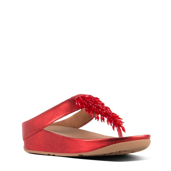 Image for Rumba red leather fringed toe-thong sandals