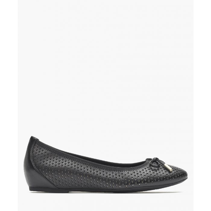 Image for Black leather bow ballet flats
