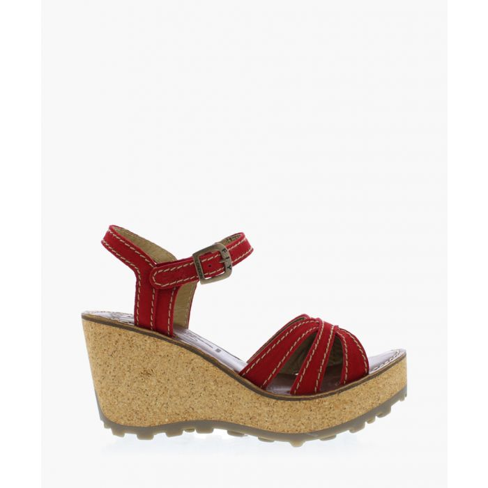 Image for Lipstick red leather wedge sandals