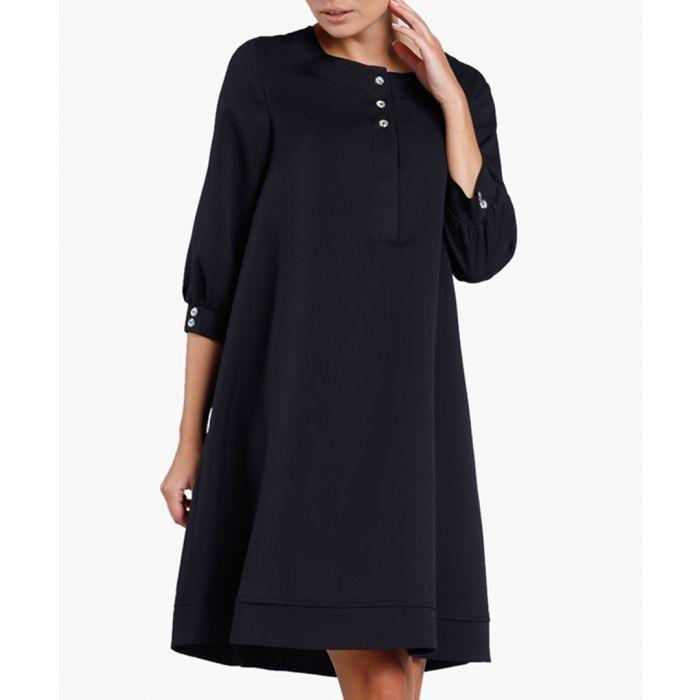 Image for Black triple button shift dress
