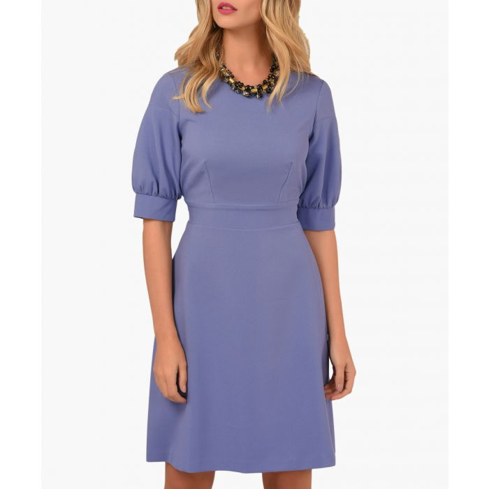 Image for Lilac tie back puff sleeve dress