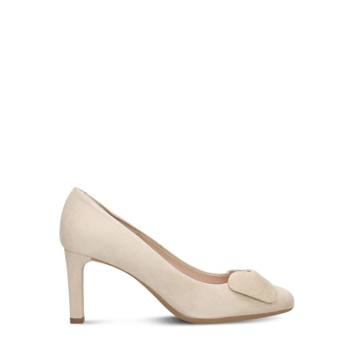 Image for Light beige suede bow heels