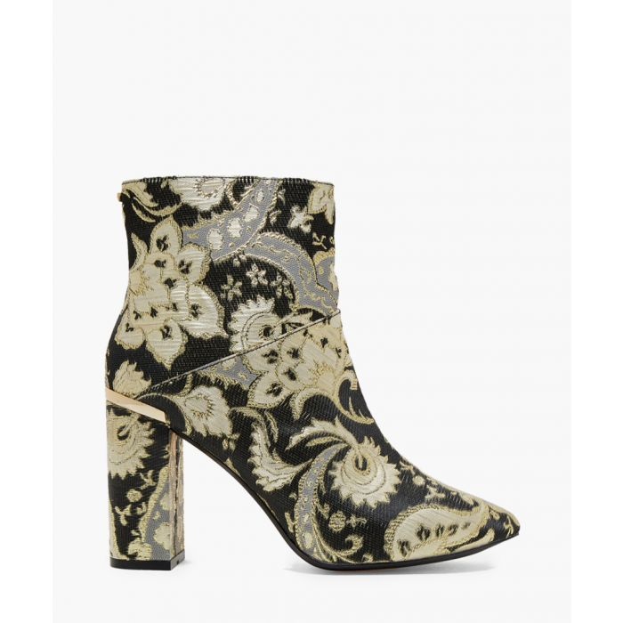 Image for Black and gold paisley print heeled boots