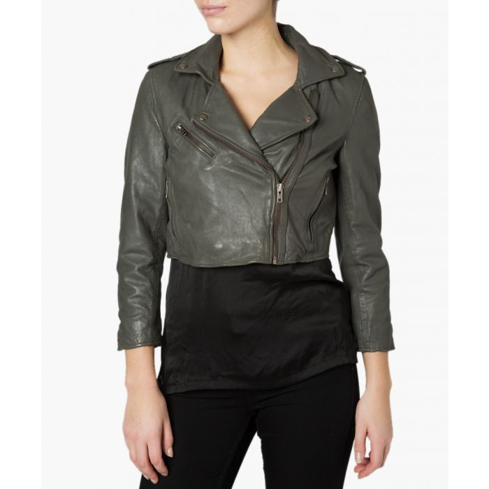 Image for Thanatos dark grey leather crop biker