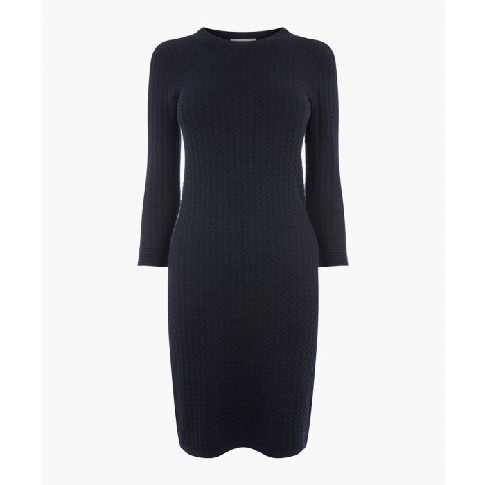 Image for Navy ripple stitch knit dress