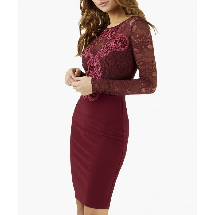 Image for Berry lace bodycon dress