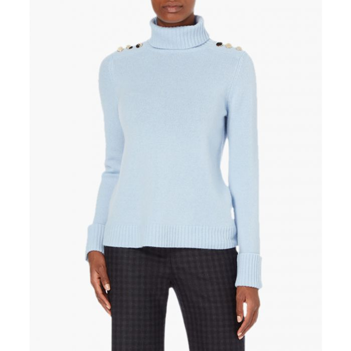 Image for Iron blue cashmere high-neck jumper