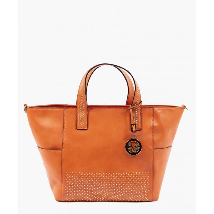 Image for Orange studded shopper bag