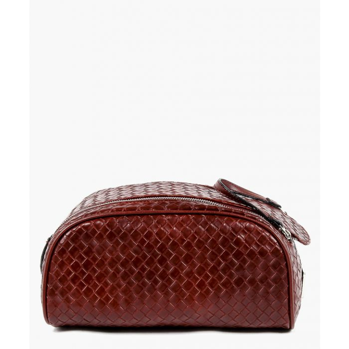 Image for Dark red woven zipped pouch