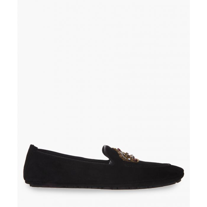 Image for Black leather crown embroidery slip-ons