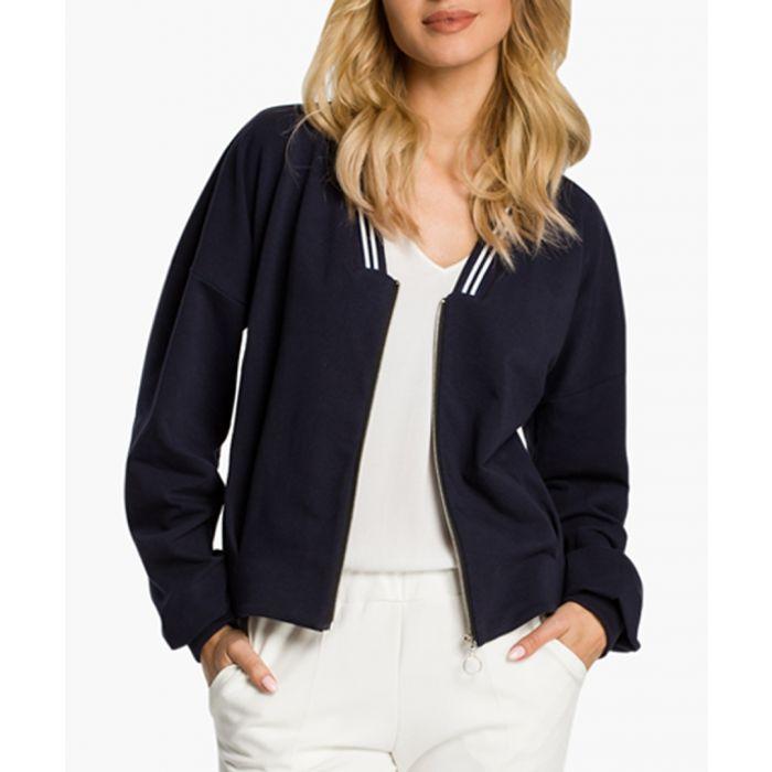 Image for Navy Blue Cotton Blend Jacket