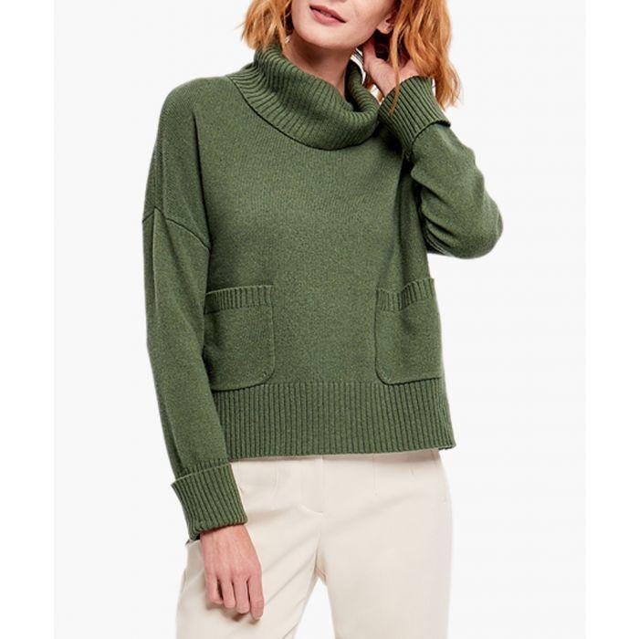 Image for Dark green merino wool blend jumper