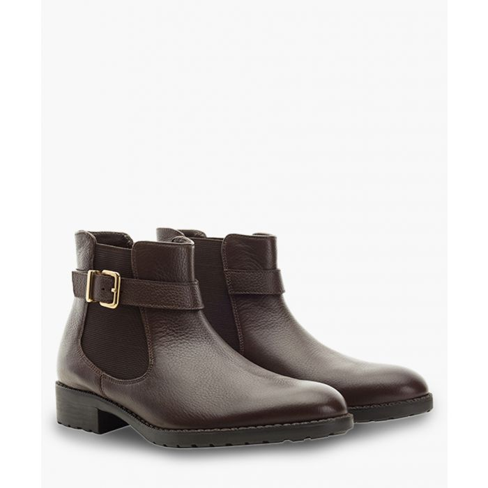 Image for Brown leather buckle Chelsea boots