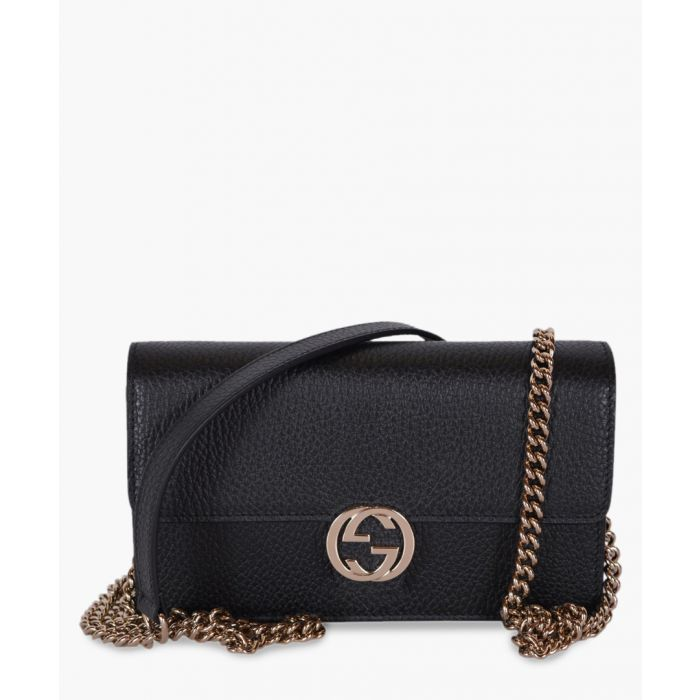 Image for Black leather interlocking GG crossbody wallet