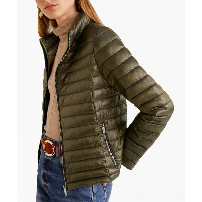 Image for Khaki contrast liner quilted coat