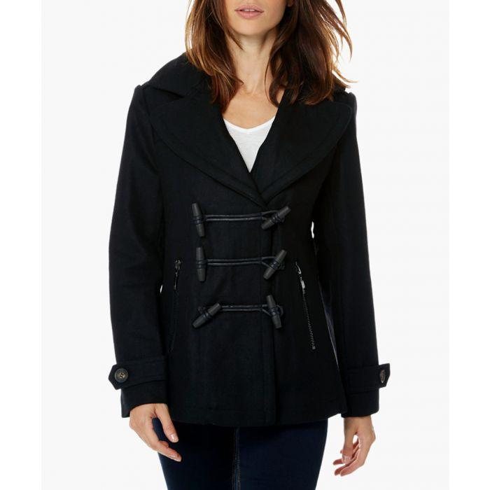 Image for Copa black wool blend short duffle coat