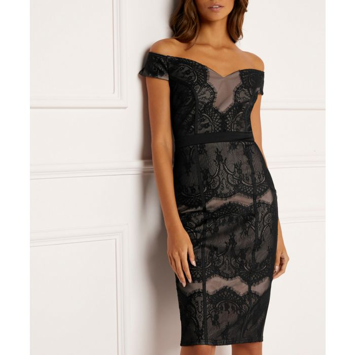 Image for Black lace bardot dress
