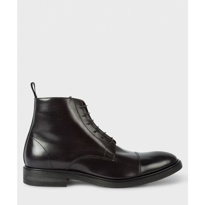Image for Black leather combat boots