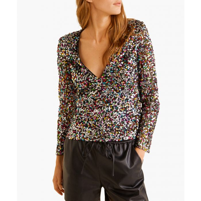 Image for Black sequined top