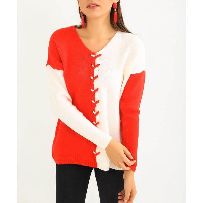 Image for Britli red & white contrast jumper