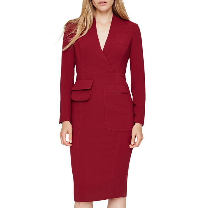 Image for Riya burgundy pocket dress