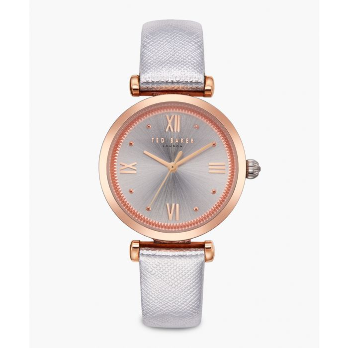 Image for Ava silver-tone leather and stainless steel watch