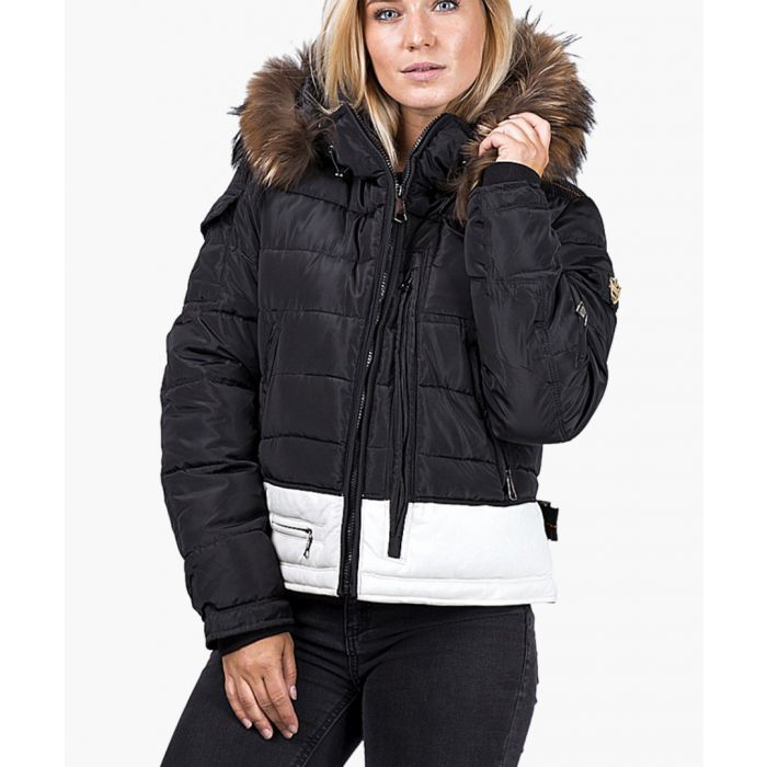 Image for Black faux leather and faux fur down jacket