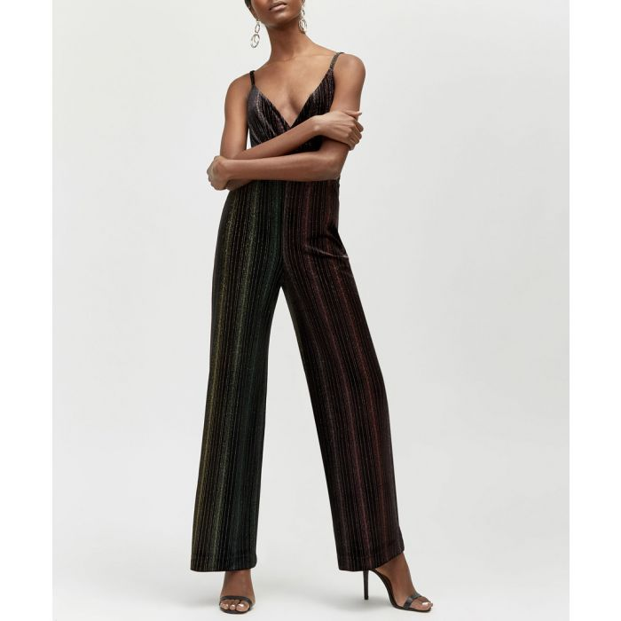 Image for Ombre black velvet strap jumpsuit