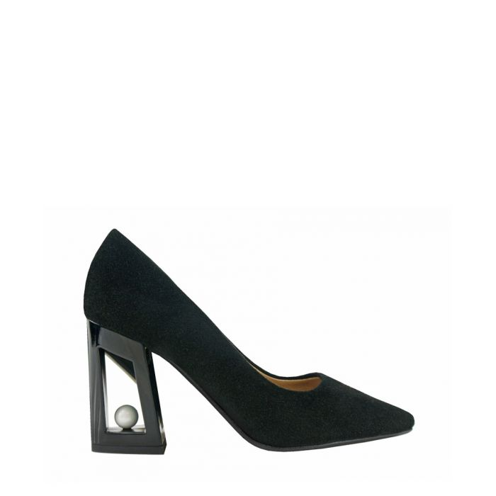 Image for Black suede cut-out pointed heels
