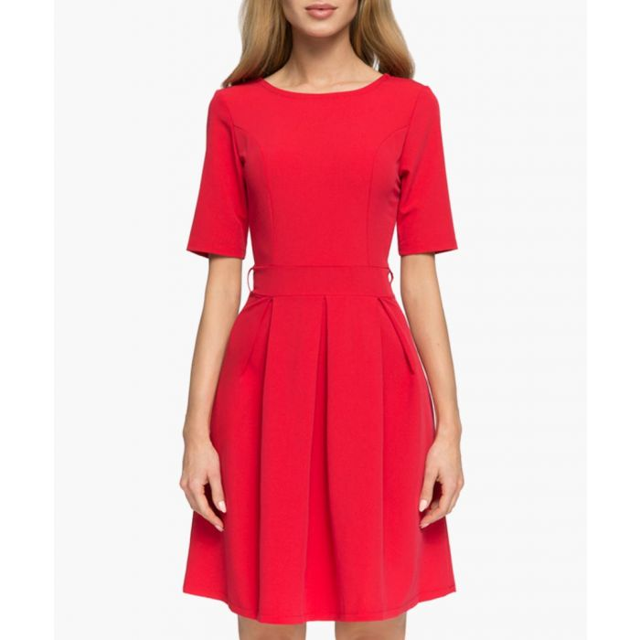 Image for Red short sleeve pleated dress