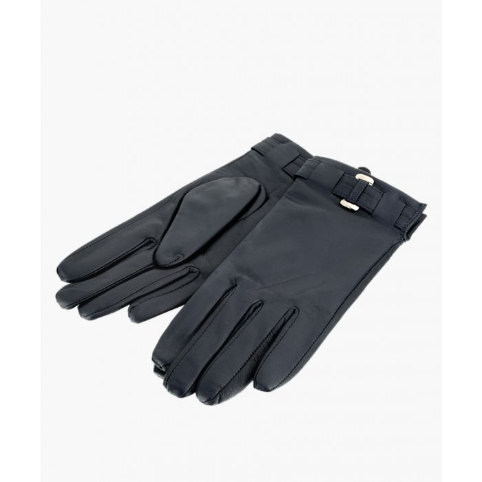 Image for Navy Belted Leather Gloves