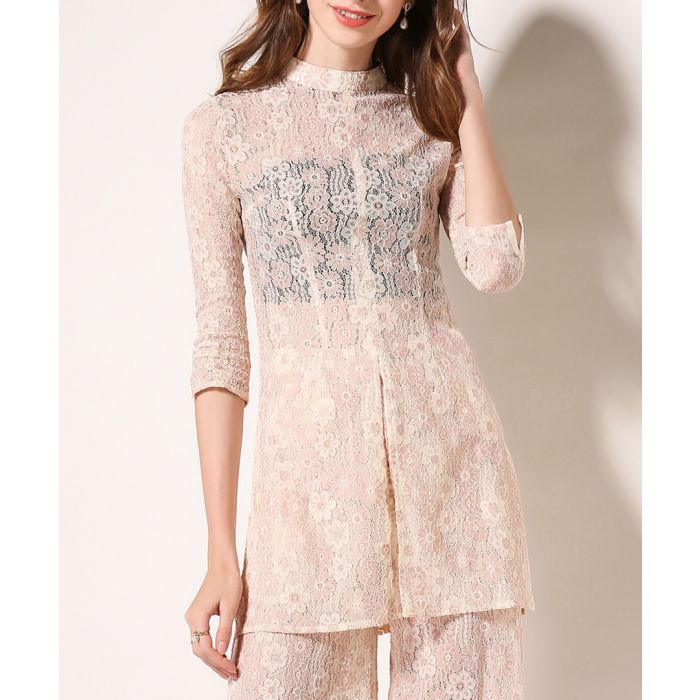 Image for 2pc light pink lace blouse & trousers