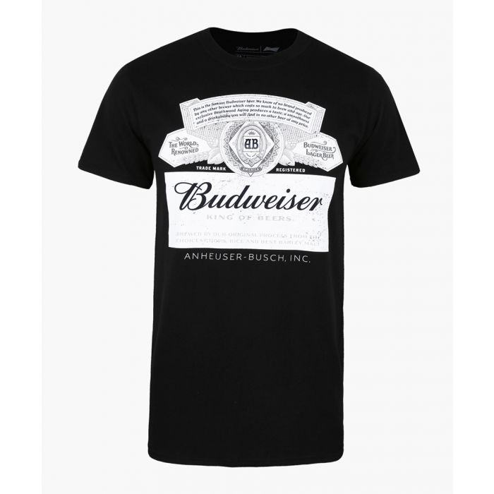 Image for Petrol Heads BUDWEISER - LABEL - MENS T-SHIRT - BLACK