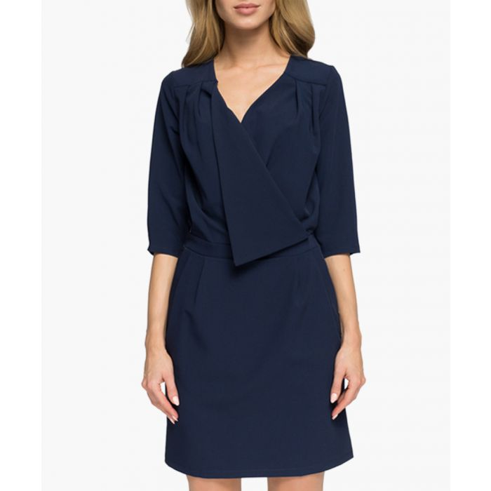 Image for Navy fold wrap dress
