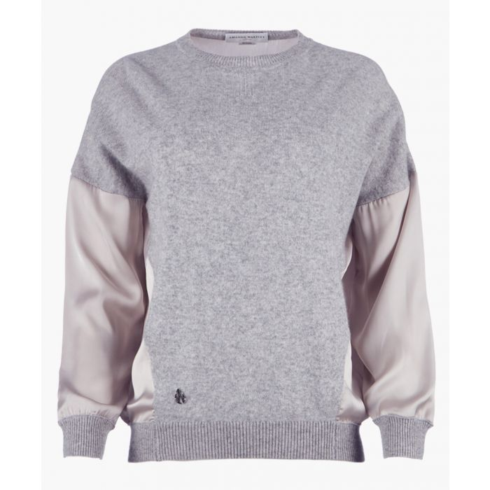 Image for Grey cashmere blend woven top