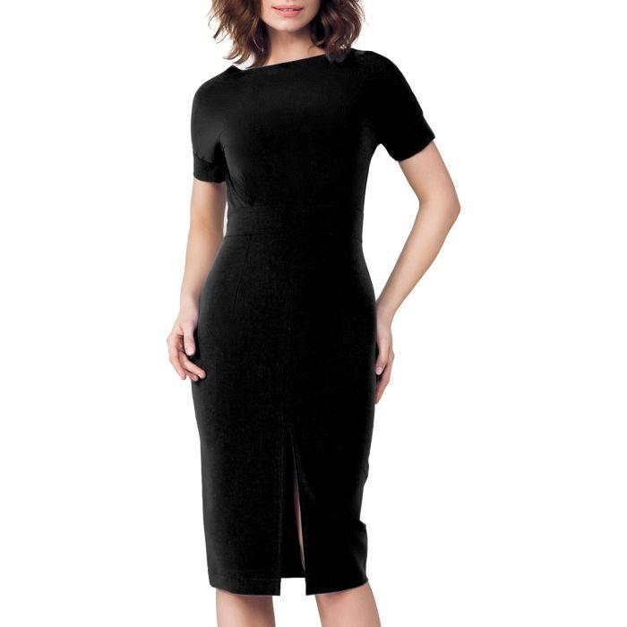 Image for Black slit front midi dress