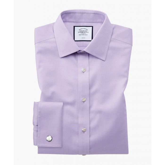 Image for Purple pure cotton extra slim fit triangle weave shirt