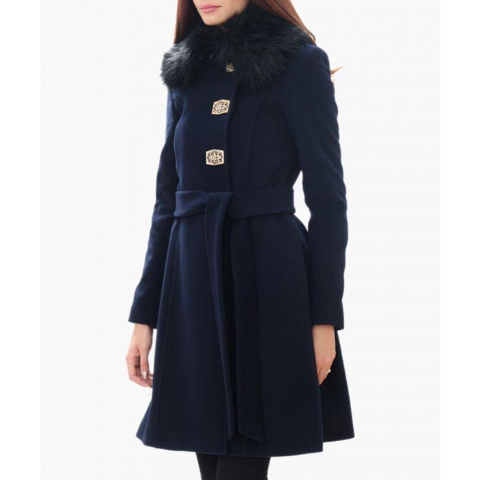 Image for Dark Blue Wool Blend Belted Coat