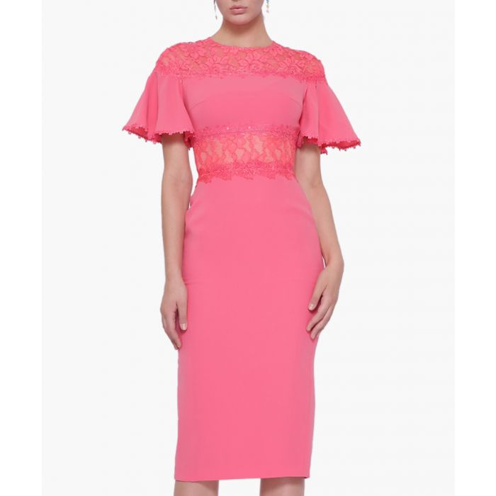 Image for Rose pink lace insert midi dress