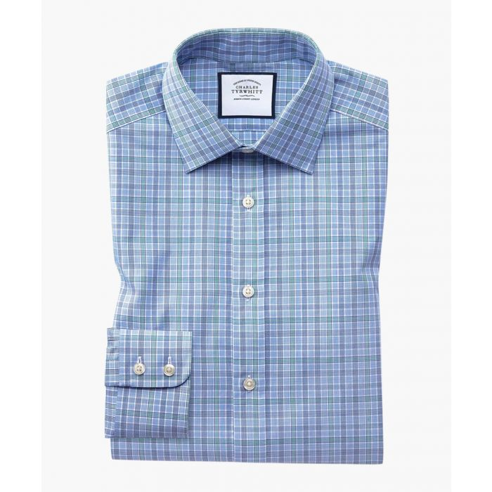 Image for Blue and green Prince of Wales check slim fit shirt
