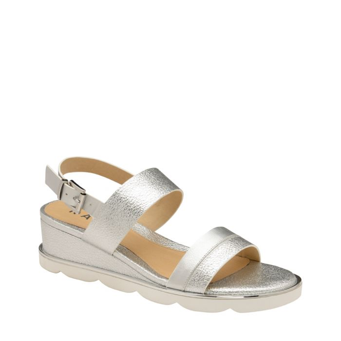 Image for Silver-tone wedge sandals