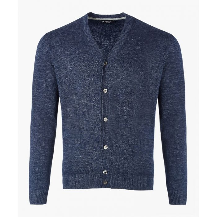 Image for Navy linen button-up cardigan