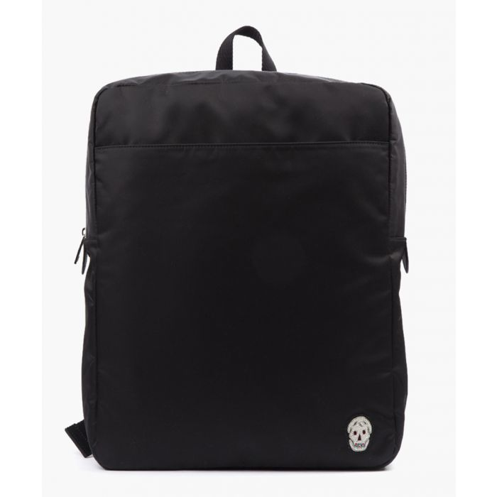 Image for Black leather trim backpack