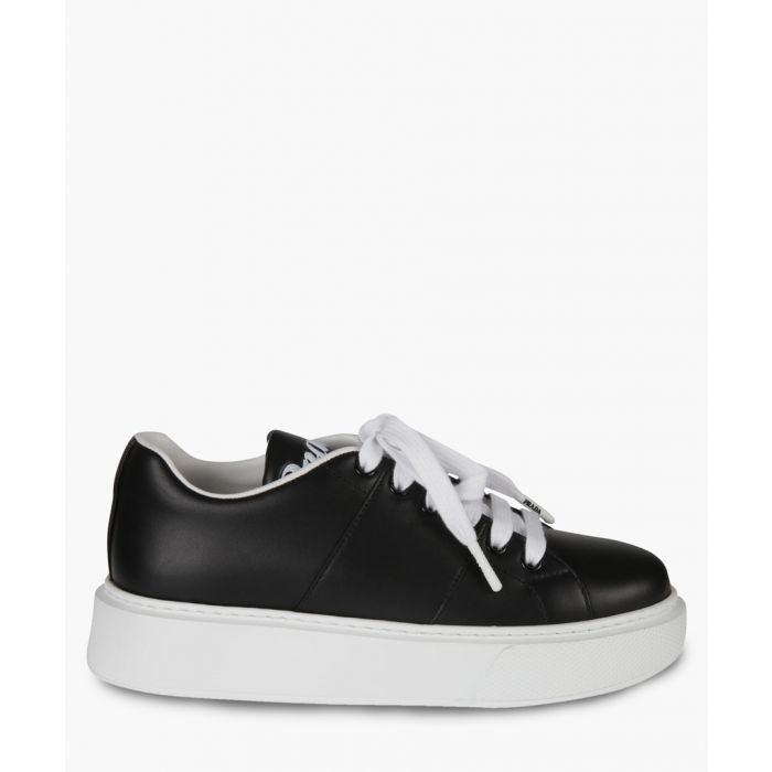 Image for Black and white leather lace-up trainers