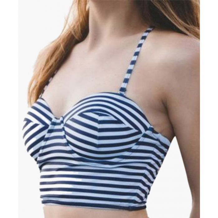 Image for Navy stripe longline bikini top