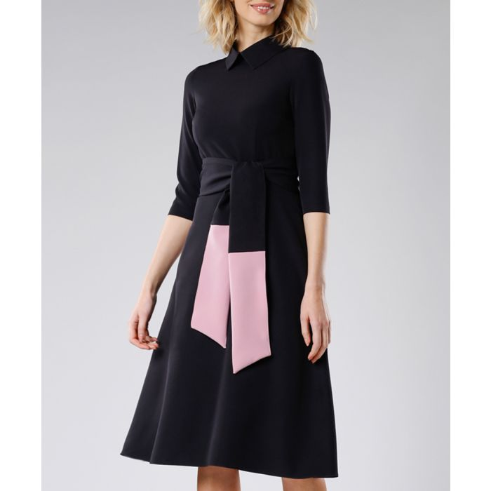 Image for Black and pink waist-tie dress