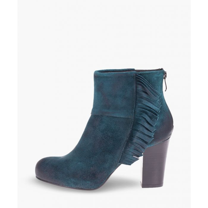 Image for Green leather ankle boots
