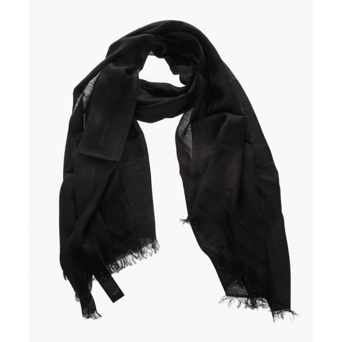 Image for Black linen fringed scarf