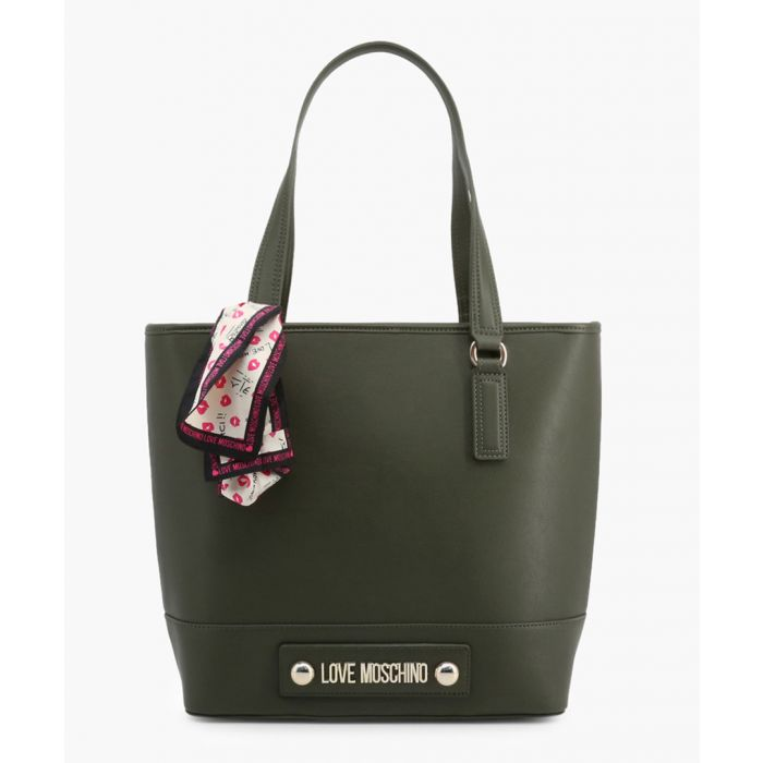 Image for Green faux-leather grab bag