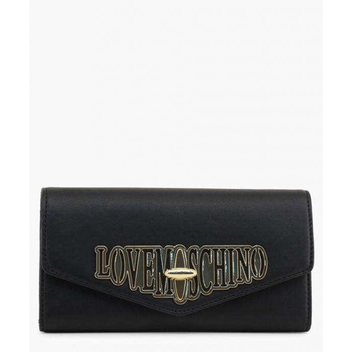 Image for Black faux-leather clutch